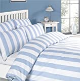 Louisiana Bedding Vertical Blue & White Stripe Duvet Cover Set 100% Cotton...